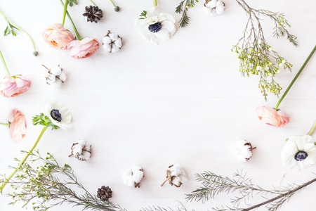 Cute and stylish branding mockup photo wit flowers.