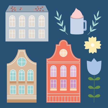 cute house: Cute colorful pastel house set. Illustration