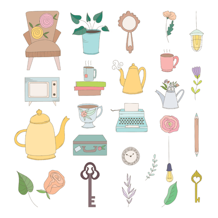 Set of hand drawn vintage objects: flowers, keys, typewritter, leaves, cups and mugs, clocks and kettles.