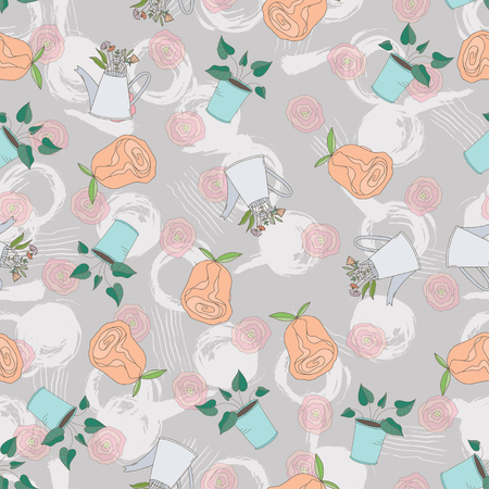Vintage seamless pattern with flowers, keys, typewritter, leaves, cups and mugs, clocks and kettles.