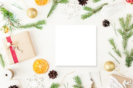 Cute vintage christmas new year gifts mock up Stockfoto