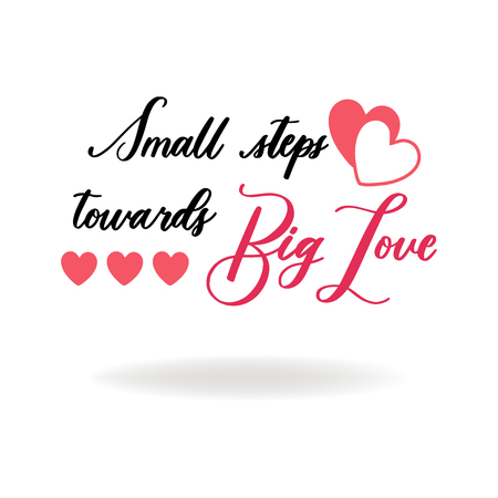 Cute Valentines day lettering composition. Hand drawn illustration with clipart. Lovely and simple design.