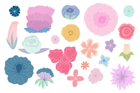 Bundle of hand drawn doodle flowers and plants. Girly boho illustrations
