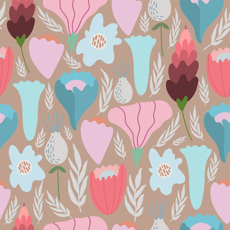 Vintage seamless pastel vector floral pattern. Illustration