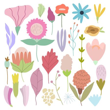 Bundle of hand drawn doodle flowers and plants. Girly boho illustrations. Illustration