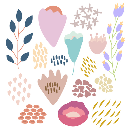 Bundle of hand drawn doodle flowers and plants. Girly boho illustrations.  イラスト・ベクター素材