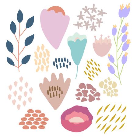 Bundle of hand drawn doodle flowers and plants. Girly boho illustrations. 일러스트