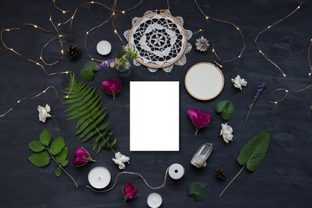 Cute and stylish branding mockup with wild flowers. Flat lay top view photo of a feminine layout.
