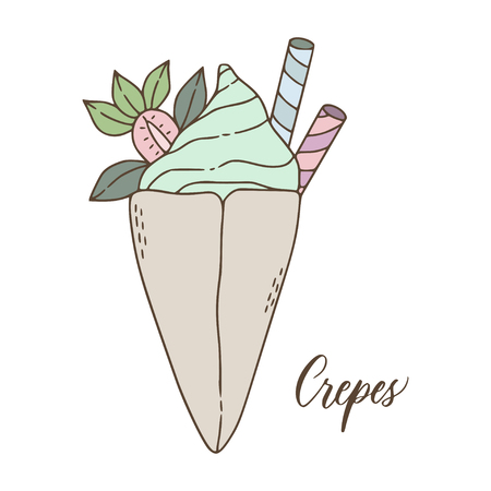 Cute doodle style illustration of delicious french crepes dessert.