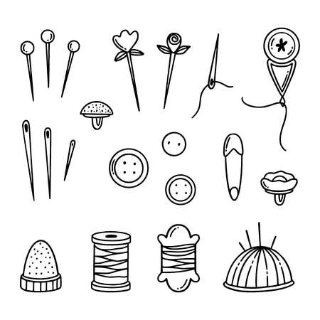 Freehand  sewing and knitting icons.  Hand drawn illustration of flat outline design elements.