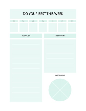 Daily and weekly planner. Simple feminine to do list. Çizim