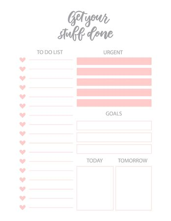 Daily and weekly planner. Simple feminine to do list. Cute loose sheets for your organaizer.