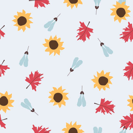 Vintage seamless pastel vector floral pattern. Foliage and flowers repeatable background.