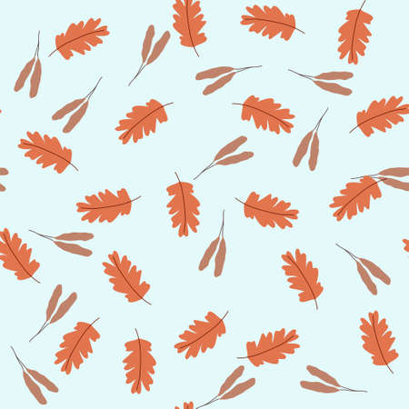 Vintage seamless pastel vector floral pattern ith leaves. Illustration