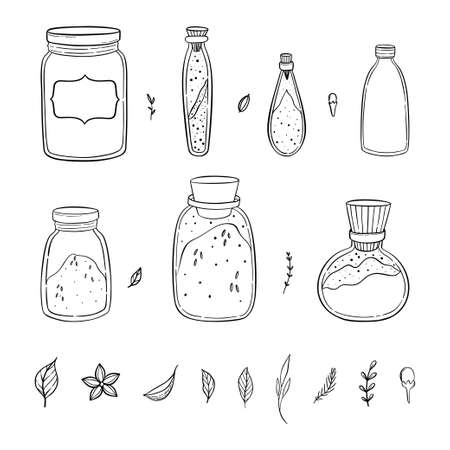 Illustration of a pantry staple objects. Spices and herbs. Spices and grains in a jars. Ilustracje wektorowe