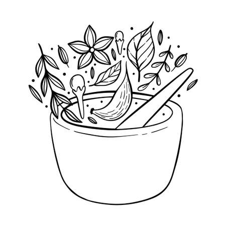 Illustration of a pantry staple objects. Spices and herbs. Spices and grains in a jars.