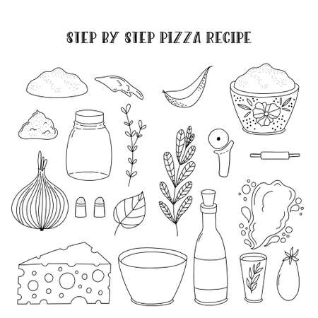 Simple illustrated step by step pizza recipe.
