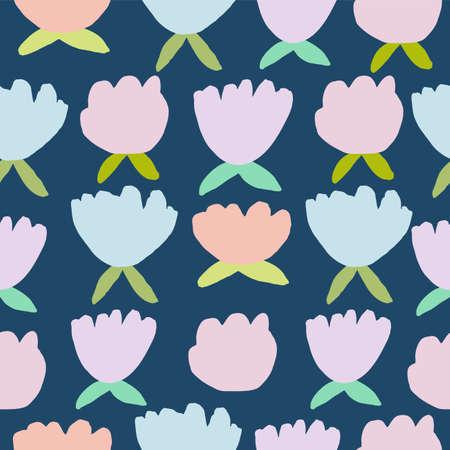 Vintage simple seamless pastel vector floral pattern. Illustration