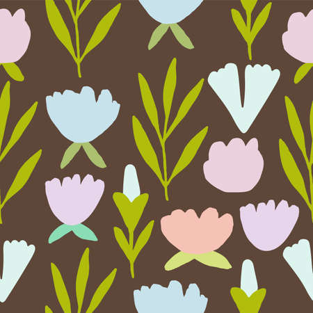 Vintage seamless pastel vector floral pattern. Folky flowers,