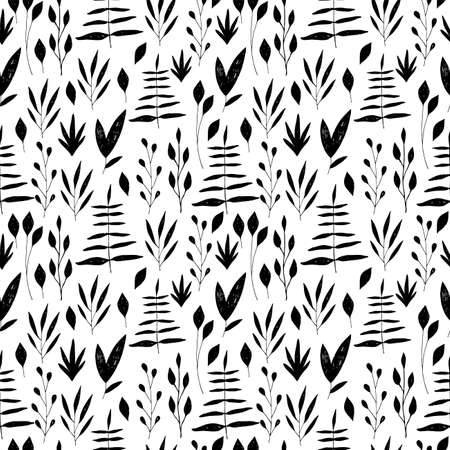 Vintage seamless pastel vector floral pattern. Black and white.