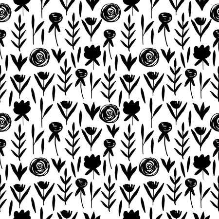 Vintage seamless pastel vector floral pattern. Black and white simple repeatable background. Illustration