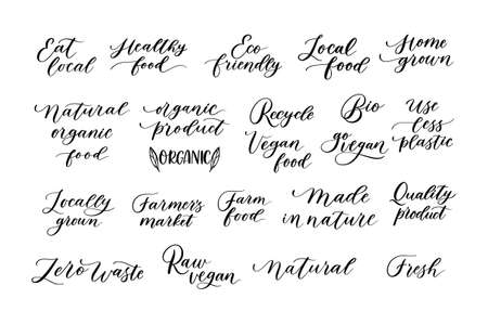 Pack of eco lettering designs. Modern calligraphy ecological quotes.