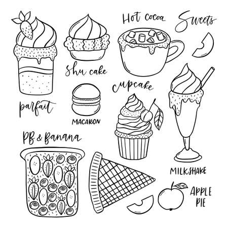 Set of hand drawn sweets vector icons.