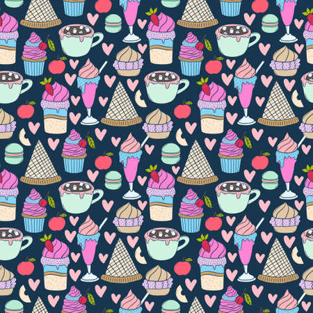 Set of hand drawn sweets vector seamless pattern