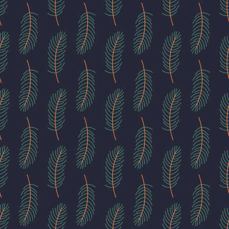 Winter simple pine fir brunch seamless pattern. Vectores