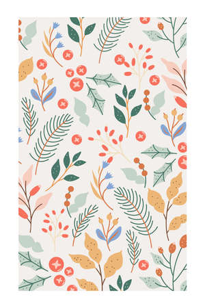 An elegant winter foliage background in pastel colors with a white boarder.