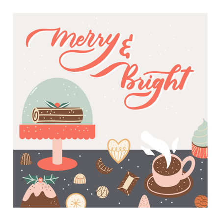 Christmas greeting card design with holiday elements in modern style, simple cute greeting card design.