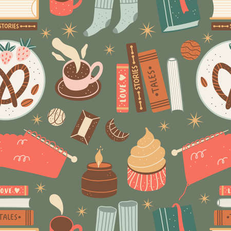 Christmas seamless pattern with cozy and cute winter holiday elements.