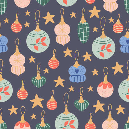 Christmas seamless pattern with beautifull colorful holiday ornaments.