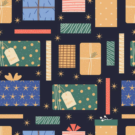 Colorful seamless pattern with wrapped gifts. Christmas presents on a dark background.