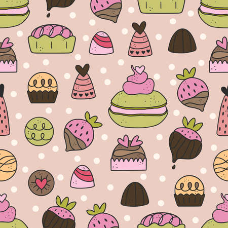 Cute hand drawn seamless pattern with chocolate, candy, macarone, strawberry, dessert. Vectores