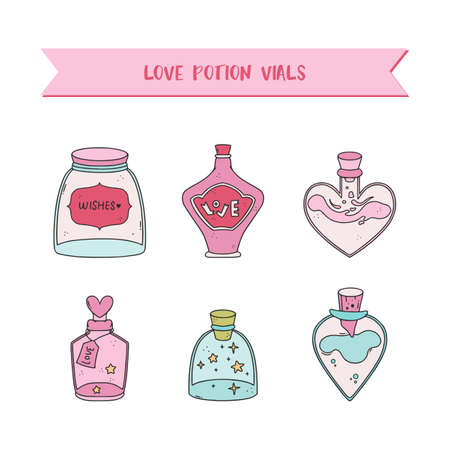 Adorable illustrations with love potion bottles for a valentines day.