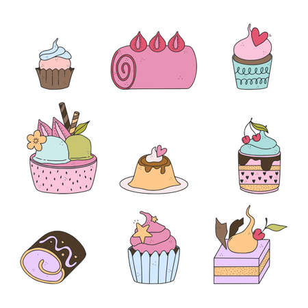 Pack of cute hand drawn dessert illustrations. Pastry, sweets, ice-cream, chocolate, candy.