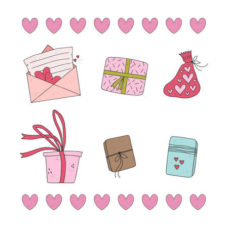 Pack of cute gift boxes, wrappers, bags with presents. Hand drawn valentine day illustrations.