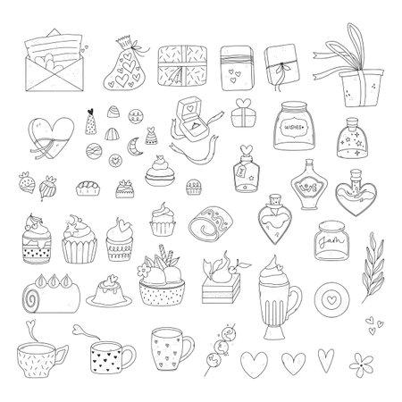 Bundle of valentine day illustrations. Pack of adorable doodles.