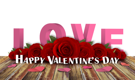 red roses flower with wood floor background, happy valentine day Stock Photo