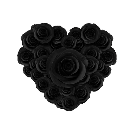heart of beautiful black roses flower, happy valentine day