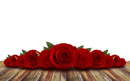 red roses flower with wood floor background Stock Photo