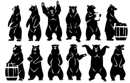 Illustration of bears standing on hind legs. Two bears with barrels. Black silhouette. Isolated on a white background.