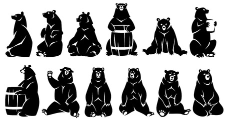 Decorative illustration sitting bears. Black silhouette. Isolated on a white background. Иллюстрация