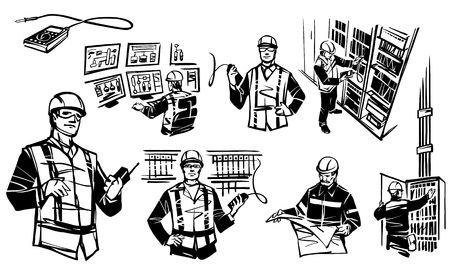 Illustration depicting automation engineers. Engineer at the control cabinet RPA. Engineer with multimeter. Engineer with walkie-talkie. Engineer with multimeter test industrial cabinet of relay protection and automation. Engineer sitting at control panel. Engineer with blueprints. On the monitor the HMI screen. Separate multimeter
