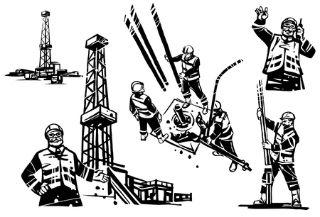 An oil engineer with a radio on the background of a drilling oil rig. Workers drill a well. Separate drilling rig.