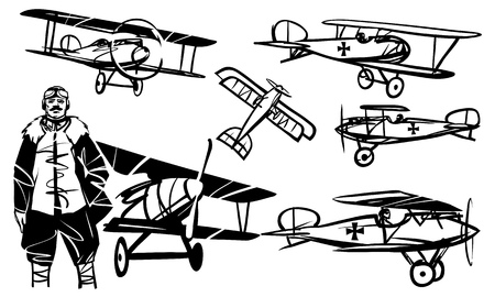 Set of illustrations Albatros D.III. German pilot of World War I against the background of the biplane Albatros D.III. Illustration