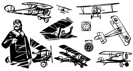 Set of illustrations biplane. French pilot of World War I against the background of the biplane. Illustration