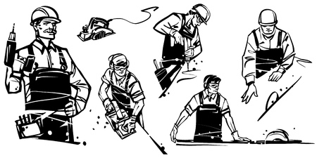 A worker with a drill looks at the camera. Workers with a drill. Carpenter cutting wooden plank. Man working with an electric planer. Worker with a sawmill. Illustration