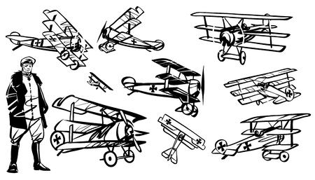 Set of illustrations triplanes of the first world war. German pilot of World War I against the background of the triplane.